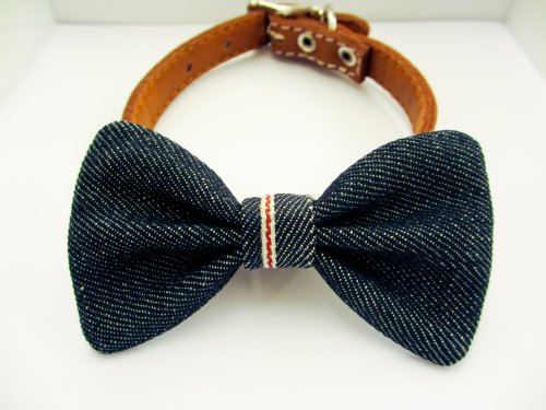 Dog or Cat Slide on Handcrafted Bow Tie Collar Accessory - The Jean Red Tab Limited Edition