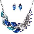 Yazilind Ethnic Style Tibetan Silver Blue Peacock Crystal Chunky Bib Earrings Necklace Set Wedding Party 2pcs