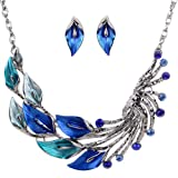 Yazilind Ethnic Style Tibetan Silver Blue Peacock Crystal Chunky Bib Earrings Necklace Set Wedding Party 2pcs