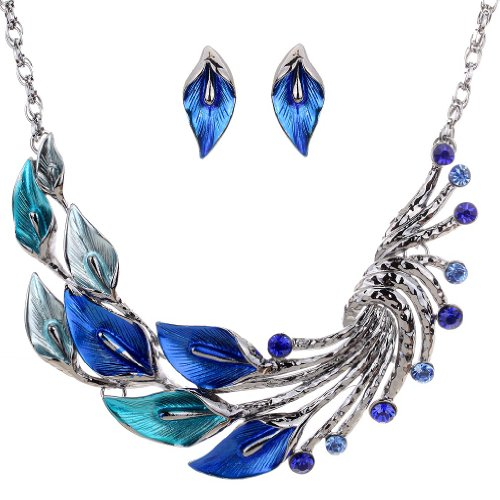 Yazilind Ethnic Style Tibetan Silver Blue Peacock Crystal Chunky Bib Earrings Necklace Set Wedding Party image