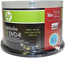 HP DVD Lightscribe Recordable Media - DVD-R - 16x - 4.70 GB - 50 Pack Cake Box (4064)