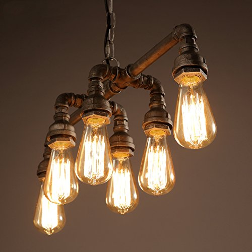 SEOL-LIGHT Industrial Pipe Chandeliers with 6 lights,Max 360W Metal Fixture,Dinning Table,Bar,Foyer