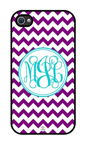 Izercase Monogram Personalized Purple And White Chevron Pattern Rubber Iphone 4 Case - Fits Iphone 4 & Iphone 4S T-Mobile, Verizon, At&T, Sprint And International (Black)