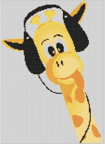Giraffe Wearing Headset Cross Stitch Pattern