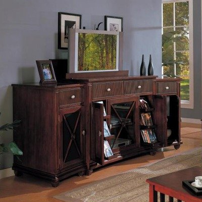 Cheap Lewisbury Three Piece TV Stand Set in Warm Walnut (LT-20023WA-ASST)