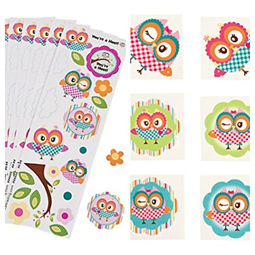 Adorable & Colorful OWL Party FAVORS - 72 TATTOOS & 24 STICKER Sheets - SUMMER Arts & Crafts - HOOT - TEACHER - Daycare - 1