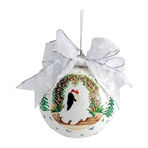 Kurt Adler Cherished Treasures Wedding Glass Ball Ornament, 4-Inch