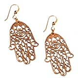 Small Hamsa Peace Bronze Earrings on French Hooks