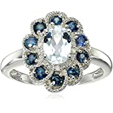 Sterling Silver, Aquamarine, Blue Sapphire, and Diamond Flower Ring, Size 7