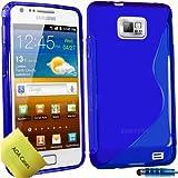 TPU Silikon Case Tasche Hülle Für Samsung Galaxy S2 S II i9100 Etui Schutzhülle Schutzfolie, Reinigungstuch, Mini Eingabestift AOA CasesTM (Blau)