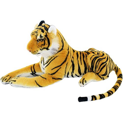 Jesonn® Realistic Stuffed Plush Toy Tiger Animal,Brown,18.9