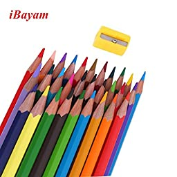 iBayam Color Pencil Coloring Pencils Oil Base Non-toxic Pencil with a Sharpener for Kids and Adults Coloring Book 36 colors