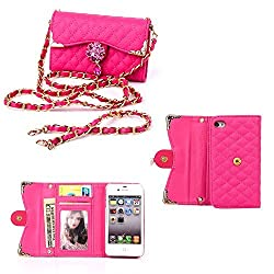 iPhone 4 4G 4S Case,Kitron(TM) Hot Pink Fashion Wristlet Shoulder Handbags Wallets, Lattice Diamond PU Leather Full Body Protector Pouch Folio Case Cover Skin For iPhone 4 4G 4S