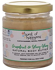Burst Of Happyness Grapefruit and Ylang Ylang Body Butter with Cocoa Butter & Kokam Butter for Dry Skin, 120 g