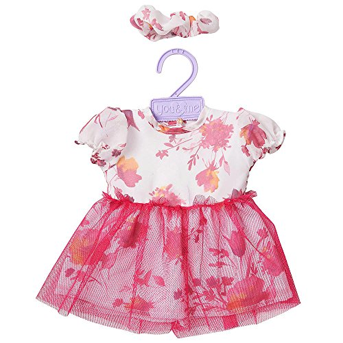 You & Me 12-14 Inch Doll Outfit - White/Pink Floral Tutu Dress front-887115