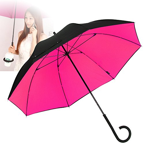 NEWBRELLAs Durable Travel Umbrella with Unique Twistable C Handle - Solved Traditional Problem of Storage (Black/Rosy) (Groupon For Hotels compare prices)