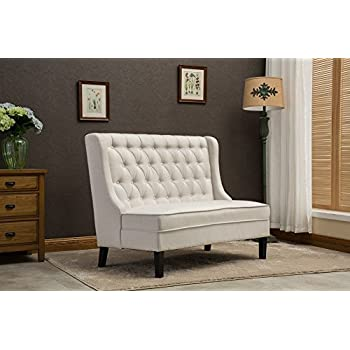 Modern Tufted Button Back Linen-like Light Grey Upholstered Loveseat Banquette Settee with Wing for Dining Room Hallway or Entryway Seating