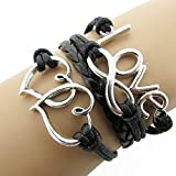 Kamour Jewelry Mens Womens Leather Rope Bracelet, Infinity LOVE Double Hearts Friendship Leather Charm Bangle, Black Silver