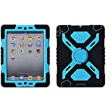 Ipad Mini 1 & 2 Silicone Plastic Kid Proof Extreme Duty Dual Protective Back Cover Case with Kickstand and Sticker for Apple Ipad Mini & Ipad Mini with Retina Display - Rainproof Sandproof Dust-proof Shockproof Black/blue