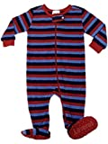 "Leveret Footed ""Striped Blue & Green"" Fleece Pajama Sleeper (Size 6m-5t) (12-18 Months, Red Navy & Blue)"