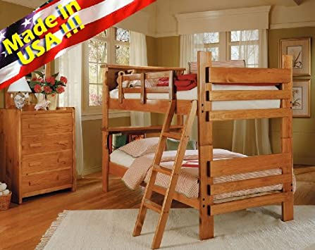 Cute Roundhill Furniture Solid Wood Convertible Bunk Bed with Bookcase Headboard Twin