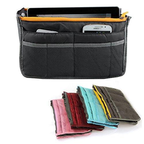 Yihya Donne Travel Organizer Bag Viaggiare Organizzatore Sacchetto Borsa Pouch con Doppia Zip Fodera Inserire Tasche Multiple Tidy Cosmetici Pouch Borsa --- ( Grigio )