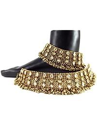 Biyu Antique Style Kundan Gold Plated Bridal Anklet Oa10