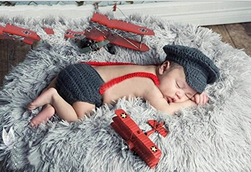 Jastore® Photography Prop Baby Police Costume Crochet Knitted Hat Diaper