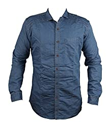 Zedx denim long sleeve liner solid plain pattern LIGHT BLUE style shirt for men's