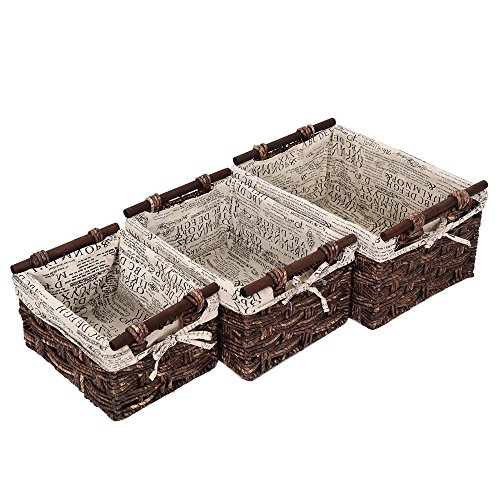 Wicker Home Decorative Storage Organizer Baskets -3 Piece Set - 11.5