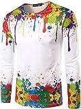 (ワトリズ)Whatlees メンズ Tシャツ 丸首長袖 ホワイト ドロドロ 3Dプリント おもしろ スリム おしゃれ カッコイイ 快適  男女兼用 カジュアル 大人気 超リアル トップス 春夏物 B057-03-XL