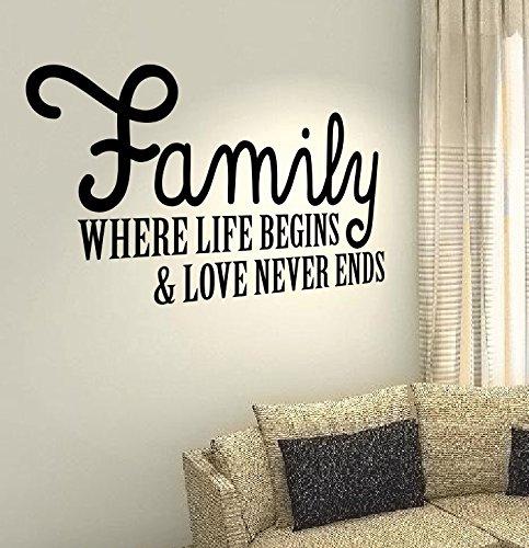"""La famiglia in cui inizia & love never estremità a forma di cuore, scritta """"Happy Kids Home wall Art Décor-Adesivi in vinile, fai-da-te"""