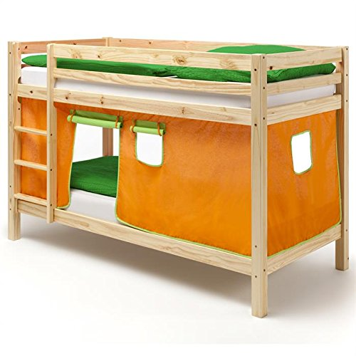 Etagenbett Doppelstockbett Stockbett Bett MAX, Kiefer massiv natur lackiert, Vorhang orange/grün bestellen