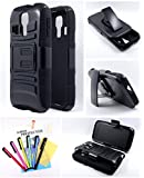Thousand Eight(TM) For Kyocera Hydro Vibe (C6725) - Hybrid Armor Stand Case With Holster and Locking Belt Clip + [LCD Screen Protector Shield(Ultra Clear)+Thousand Eight(TM)Touch Screen Stylus] (Holster stand black)