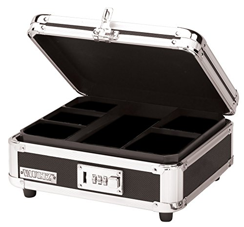 Vaultz Locking Cash Box, 9.875 x 4.875 x 8.5 Inches, Black (VZ01002)