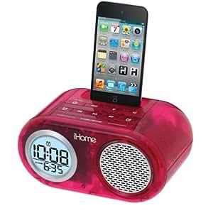 iHOME iH33PT iPod Translucent Dual Alarm Clock (Pink)