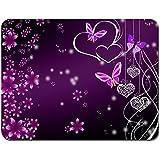 Meffort Inc® Standard 9.5 x 7.9 Inch Mouse Pad - Pink Purple Butterfly Design