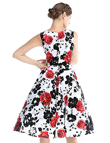 CHIC.U 1950's Vintage Floral Spring Garden Party Picnic Dress Party Cocktail Dress 1