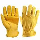 OZERO 1 Pairs Leather Work Gloves Premium Cowhide with Reinforced Patch Palm for Motorcycle (Extra Large)
