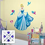 Roommates RMK2124GM Cinderella Peel & Stick Giant Wall Decal With Decrorating Accents and Gems