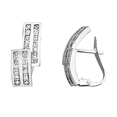 18k white gold earrings double step rail zircons [AA5142]