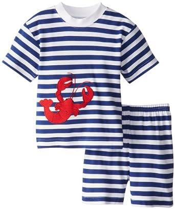 Sara's Prints Little Boys' Short Pajamas, Nautical Stripe Lobster Applique, 3