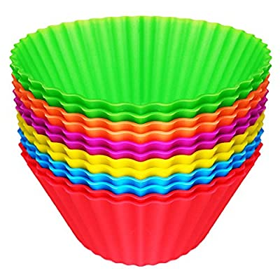 Easy Gourmet Silicone Muffin Baking Cups / Cupcake Liners - 12 Vibrant Muffin Molds in Storage Container