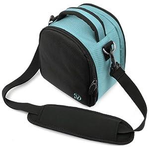 VG Sky Blue Laurel DSLR Camera Carrying Bag with Removable Shoulder Strap for Canon PowerShot SX500 IS Digital SLR Camera