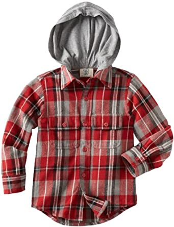 Wes and Willy Boys 8-20 Hooded Flannel Shirt, Scarlet, Medium