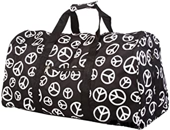 "Teens and Women's Overnight, Weekend or Gym 21"" Duffle Bag (Peace Sign - Black/White)"