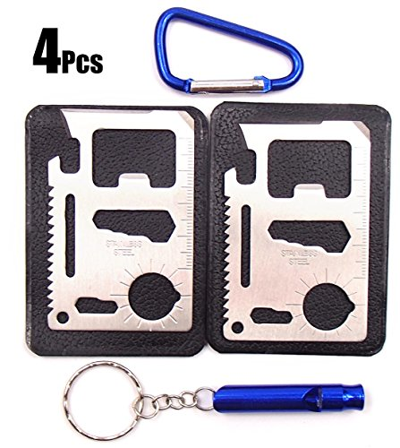 Kitsale 4.5Cm D Links Climbing Outdoor Carabiner+Alloy Whistle With Key Chain+Function Survival Pocket Steel Stainless Tool Credit Card Knife For Skis Snowboards Camping Climbing Canoes, Kayaks Sups Bikes Car Racks