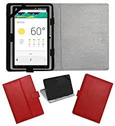 ACM LEATHER FLIP FLAP TABLET HOLDER CARRY CASE STAND COVER FOR DOMO SLATE X15 QUADCORE RED