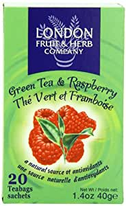 London Fruit & Herb Company  Green Tea, With Raspberry, 20 Count