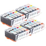 4 Compatible Sets of 5 Canon PGI-520 & CLI-521 Printer Ink Cartridges (20 Inks) - Black / Cyan / Magenta / Yellow for Canon Pixma iP3600, iP4600, iP4700, MP540, MP550, MP560, MP620, MP630, MP640, MP980, MP990, MX860, MX870